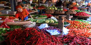 Pedagang sayuran melayani calon pembeli di Pasar Tradisional, @ANTARA FOTO
