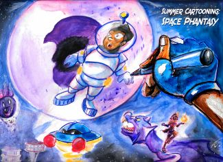 Hand drawing astronaut in space with moon in background and spaceship.