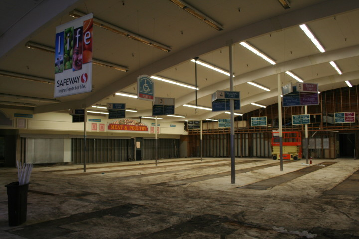 The interior of the Safeway store was stripped before demolition began. Photo: Frances Dinkelspiel