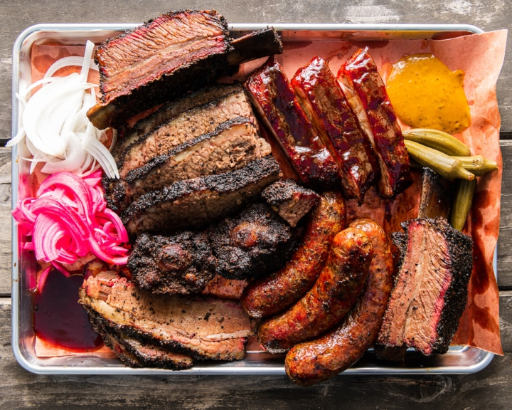 A tray of smoked meats from Horn Barbecue. Photo: Horn Barbecue