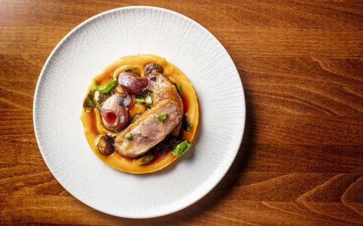Sonoma duck with butternut squash, Brussels sprouts and blood orange sauce. Photo: Alley & Vine