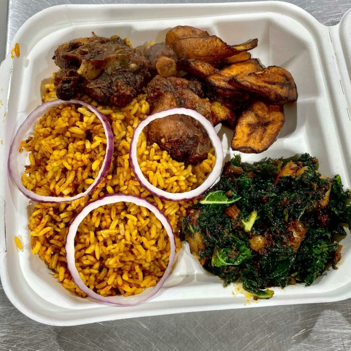 Kale-shrimp jollof rice with ox-tail and fried plantain from Jolly-Jolly Coffee & Kitchen in West Oakland. Credit: Jolly-Jolly Coffee & Kitchen/Facebook