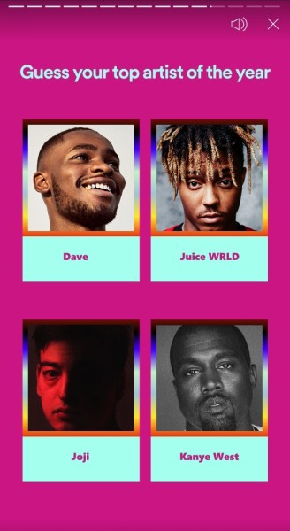 Spotify Wrapped top 4 artists