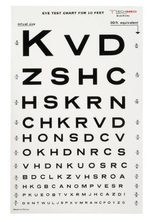 McKesson Medi-Pak Eye Test Chart, 10 Feet Snellen, 9 X 14