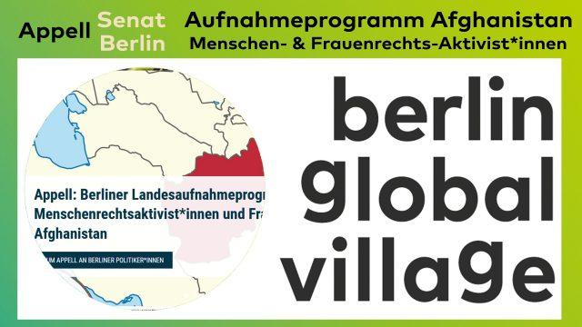 Appell: Berliner Landesaufnahme- programm für Menschenrechts-aktivist*innen & Frauenrechtler*innen aus Afghanistan
