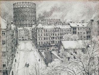 Bildvergrößerung: Ein altes Schwarz-Weiß-Gemälde zeigt eine von Häusern umgebene Straße.  Am Ende der Straße befindet sich eine zylinderförmige Stahlkonstruktion.