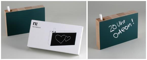 Design: Notizblock aus Buchenholz mit Tafelfarbe