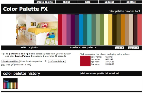 Screenshot: Color Palette FX color palette creation tool (Farbpaletten aus Bildern erstellen)