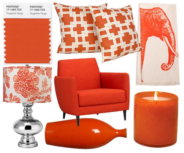 Pantone Color of the Year 2012: Tangerine Tango. Interior Design Stücke zusammengestellt von Washingtonian.com