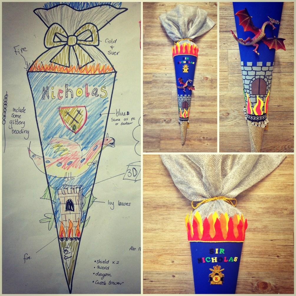 Inspiration zum Schultüten basteln: Von der Zeichnung zur fertigen Schultüte, LittleStarBlog