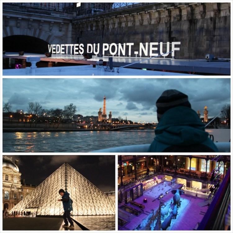 Vom Schiff aus das beleuchtete Paris mit Kindern entdecken