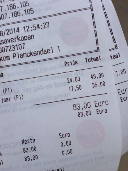 Als vierköpfige Familie zahlt man verglichen mit den Eintrittspreisen in Berlin schon ein kleines Vermögen. im Tierpark Planckendael.