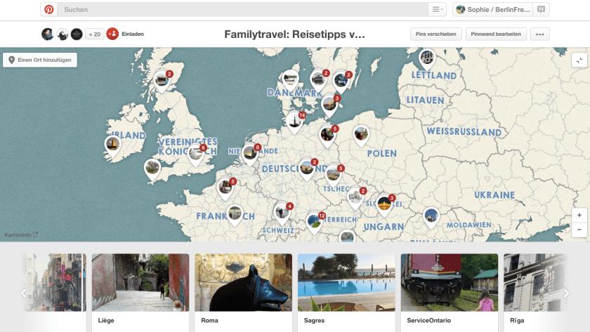 Reiseplanung mit Pinterest: Eine Pinnwand mit Kartenfunktion ist bei der konkreten Reiseplanung sehr nützlich. (Quelle: www.Berlinfreckles.de)