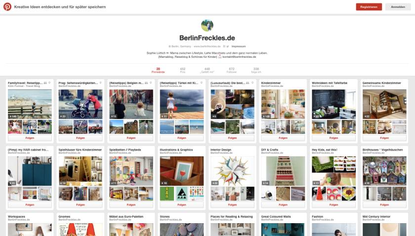 Reiseplanung mit Pinterest: Mein Pinterest-Profil und meine Pinnwände. Viele davon nutze ich zur Urlaubsplanung. (Quelle: www.Berlinfreckles.de)