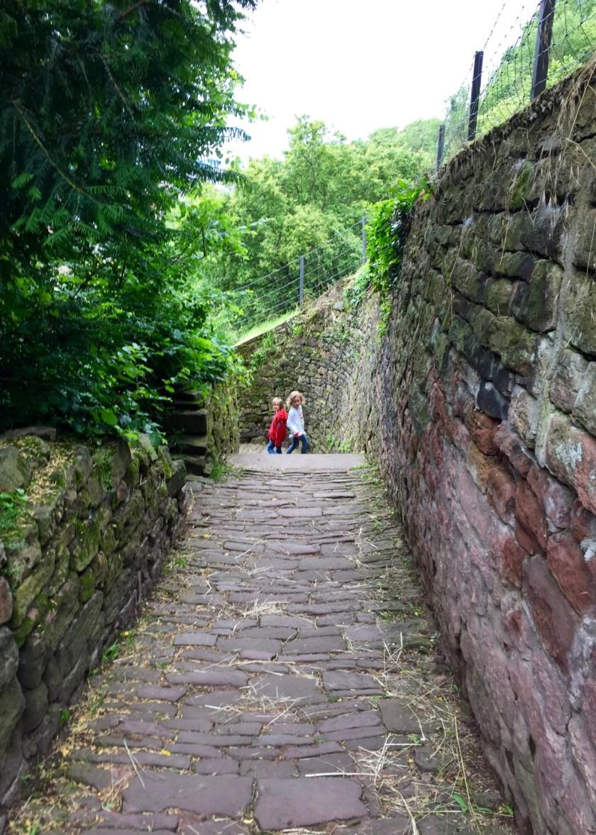 Ein Weg, den Kinder lieben, vor allem wenn es hinab geht: Der Schlangenweg in Heidelberg.