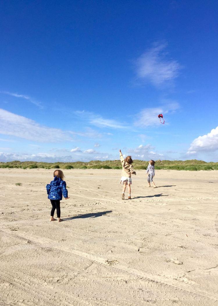 Drachensteigen am Strand auf Fanø