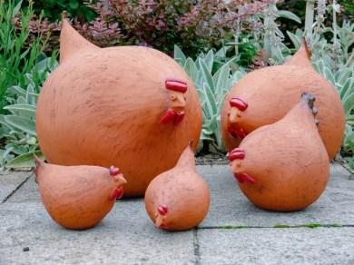 Familie verrückte Hühner