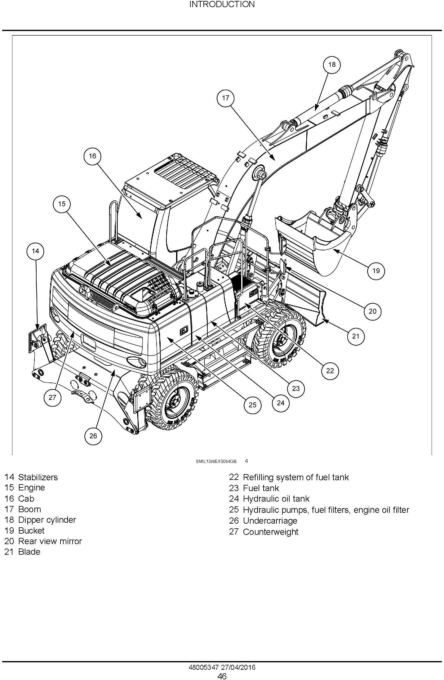 New Holland WE150B Wheeled excavator Service Manual (April