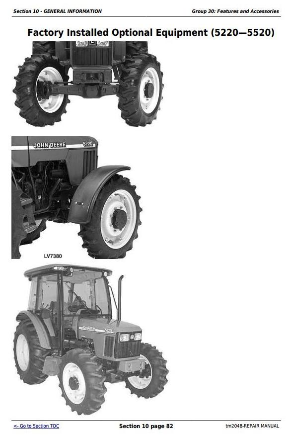 John Deere Tractors 5220, 5320, 5420, and 5520 Service