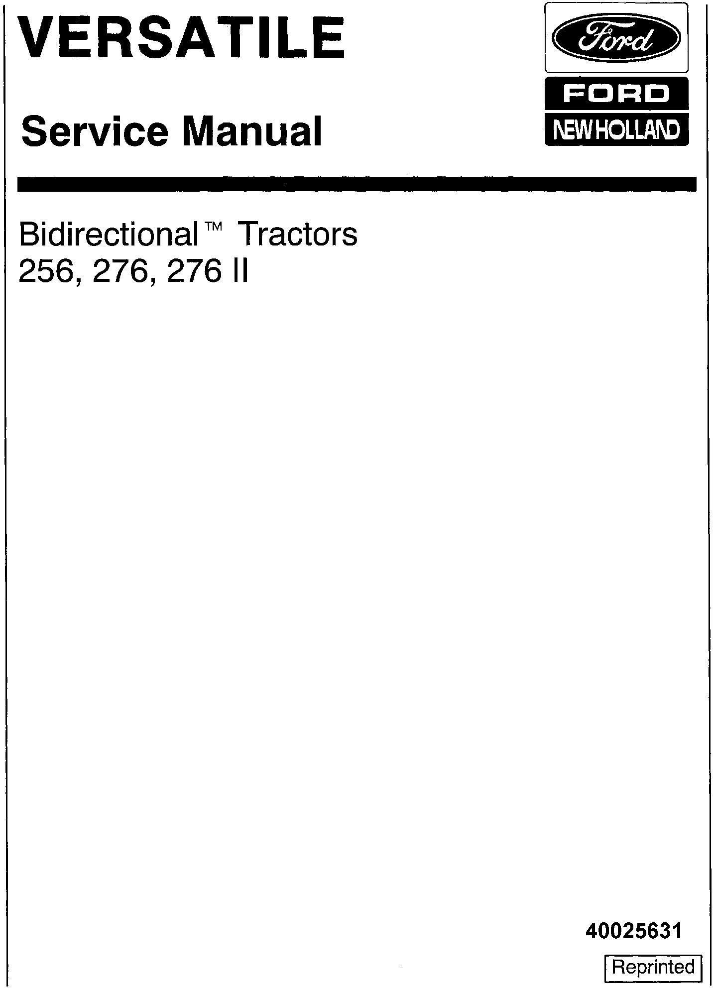 Ford 256, 276, 276 II Bi-directional Versatile Tractor