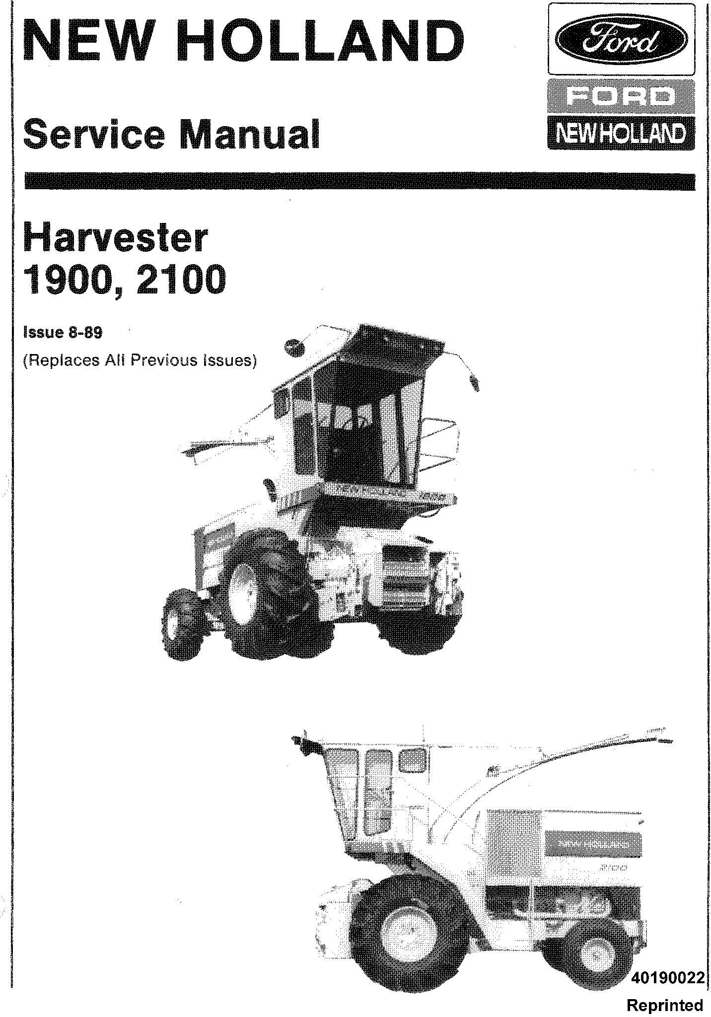 New Holland 1900, 2100 Harvester Service Service Manual