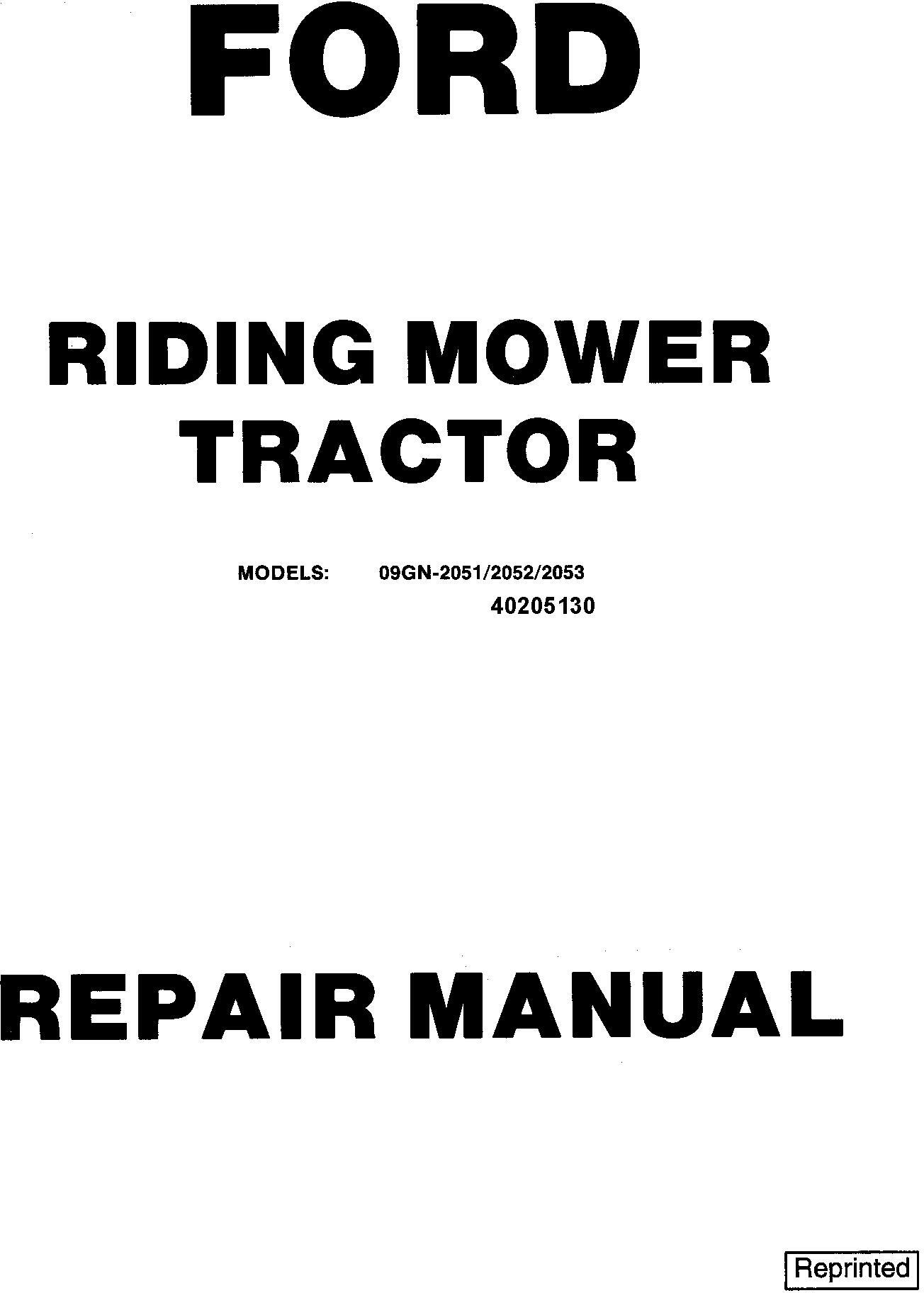 Ford 09GN-2051/2052/2053 / 2054/2055/2056 Riding Mower