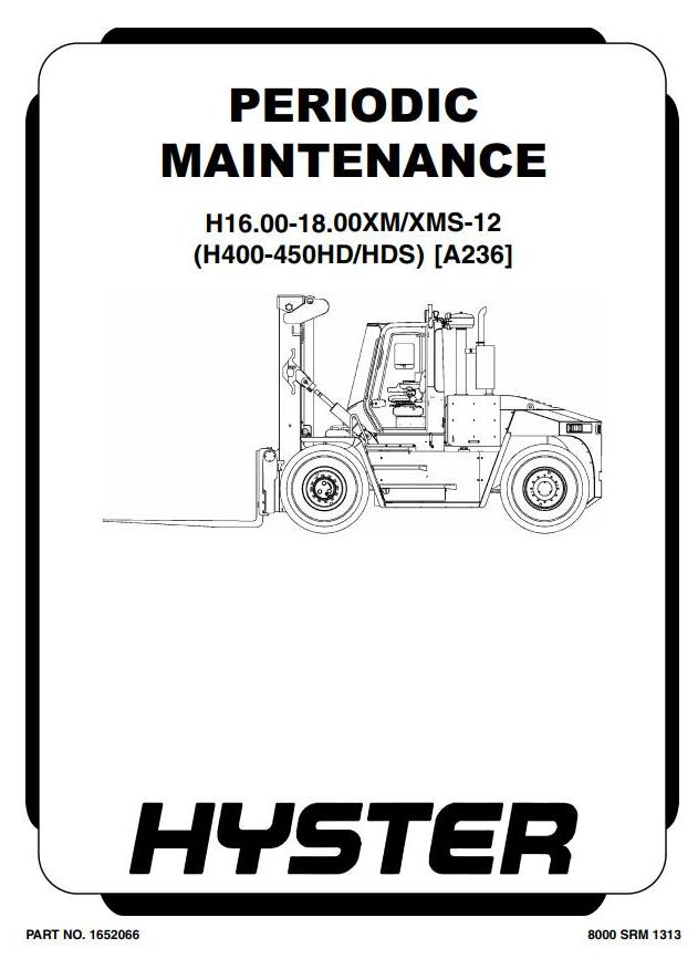 Hyster H400HD, H400HDS, H450HD, H450HDS Forklift Truck