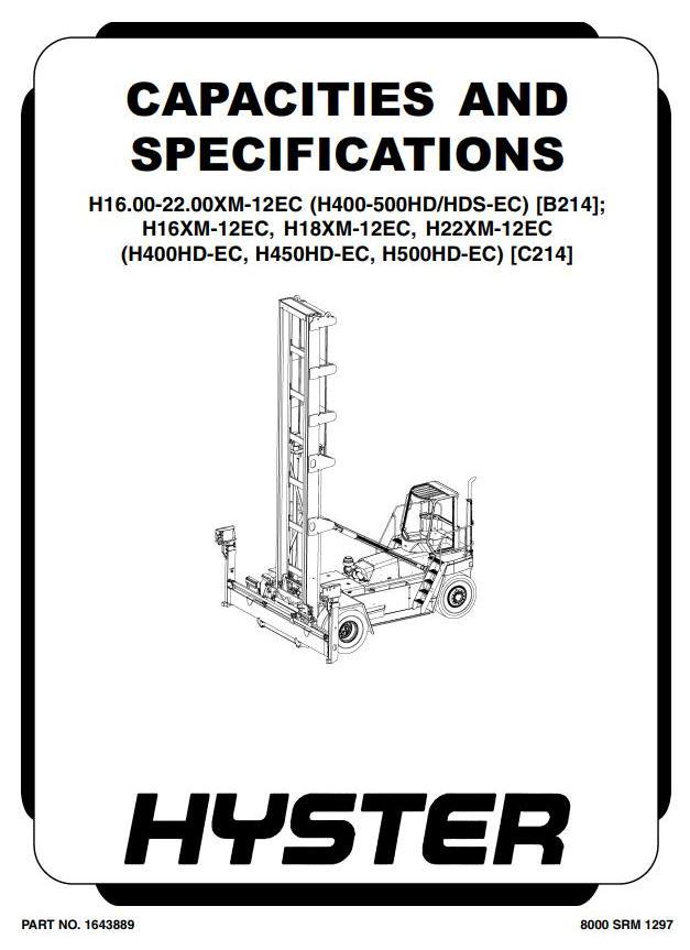 Hyster H16XM-12EC, H18XM-12EC, H22XM-12EC Empty Container