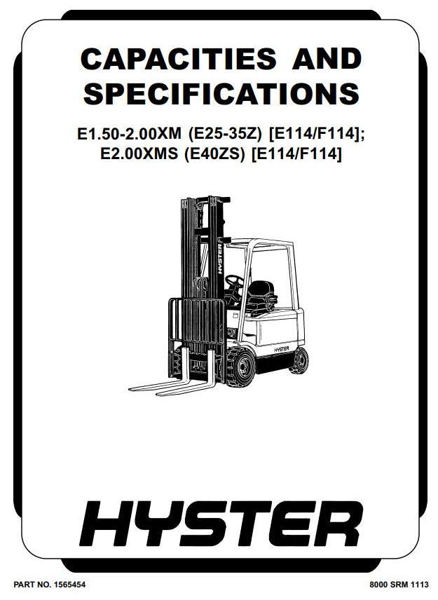 Hyster E1.50XM, E1.75XM, E2.00XM, E2.00XMS Electric