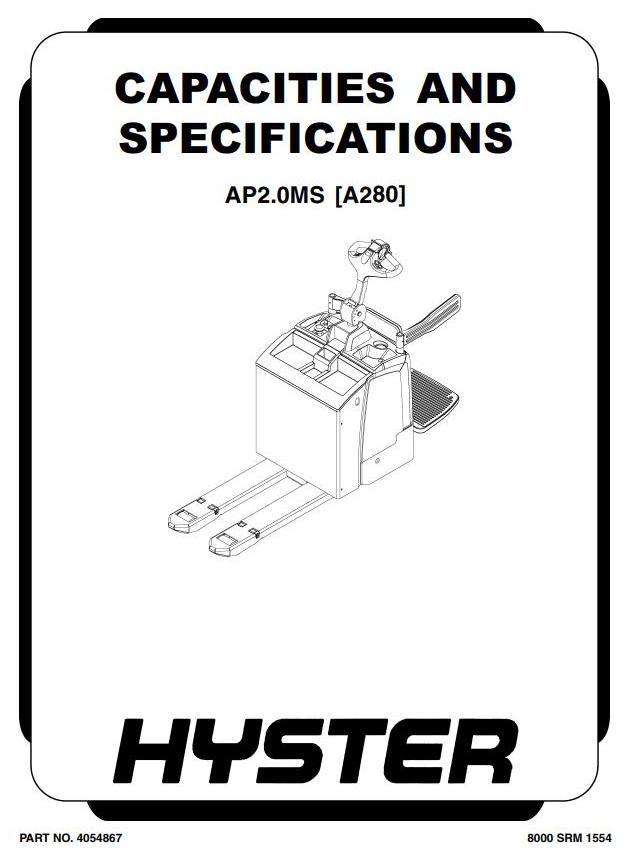 Hyster AP2.0MS Electric Platform Pallet Truck A280 series