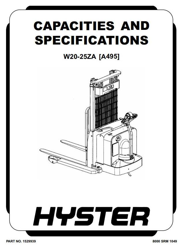 Hyster W20ZA, W25ZA Pallet Stacker A495 Series Workshop