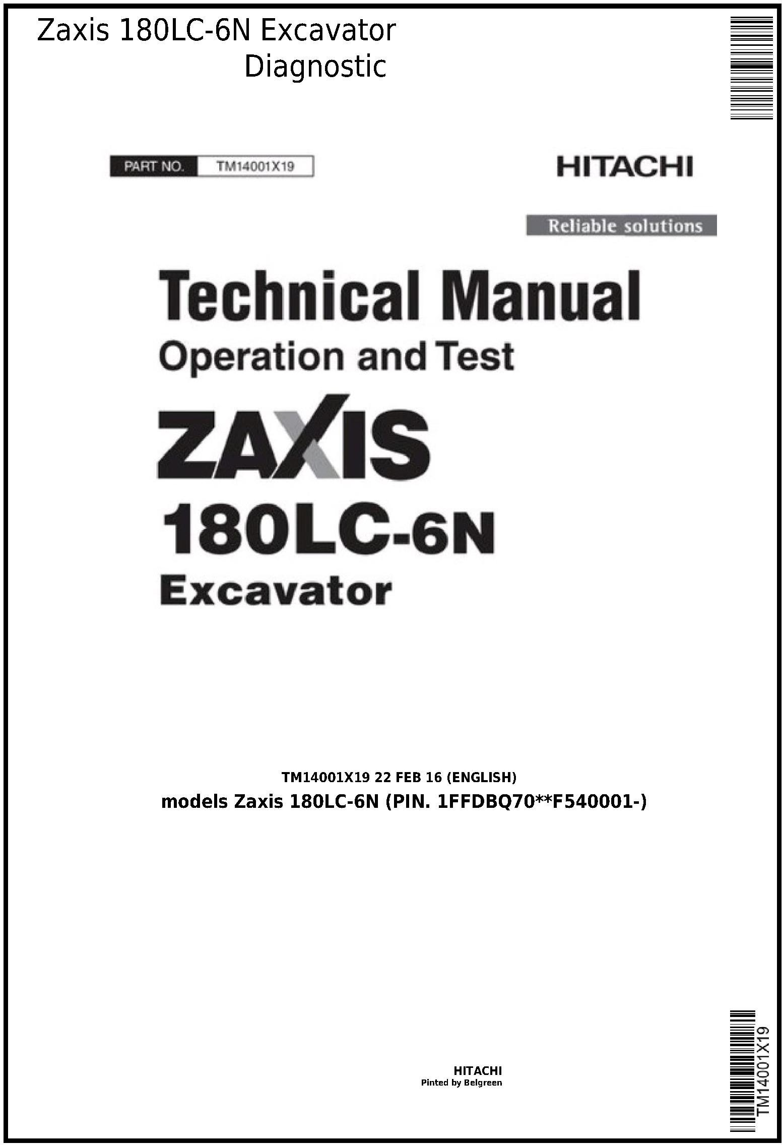 Hitachi Zaxis 180LC-6N Excavator Diagnostic, Operation and