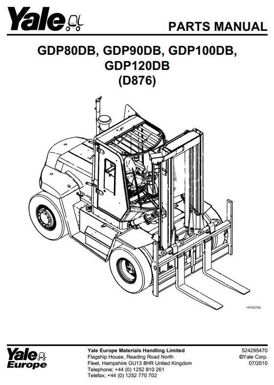Yale GDP80DB, GDP90DB, GDP100DB, GDP120DB Diesel Forklift