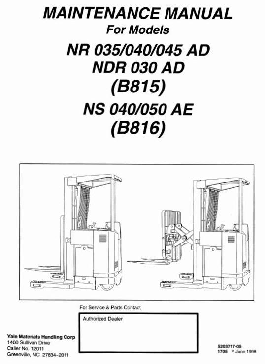 Yale NDR030AD, NR035AD, NR040AD, NR045AD, NS040AE, NS050AE