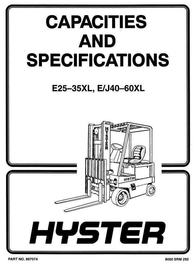 Hyster E2.00XL (E40XL), E2.50XL (E50XL), E3.00XL (E60XL