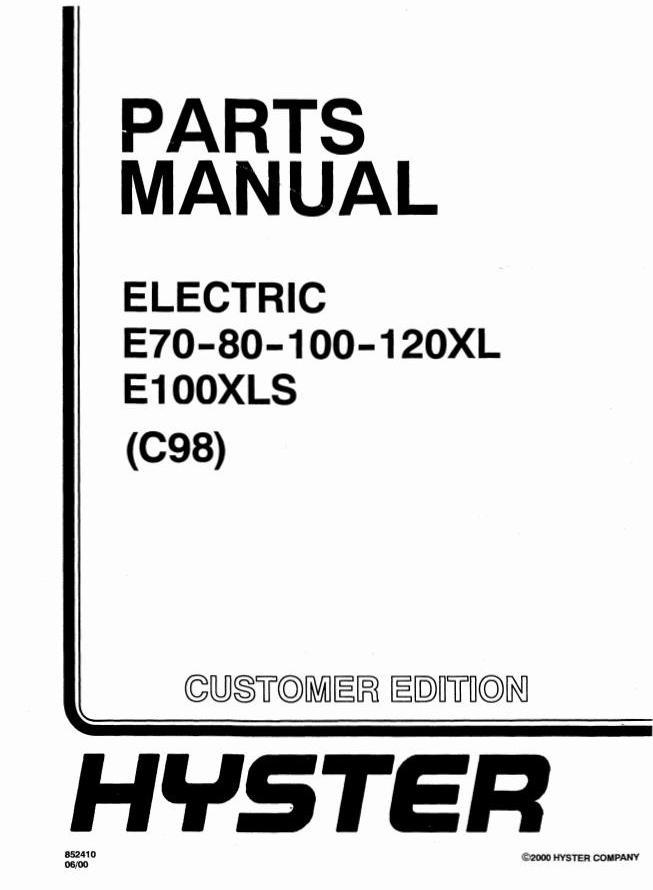 Hyster E70XL, E80XL, E100XL, E100XLS, E120XL Electric