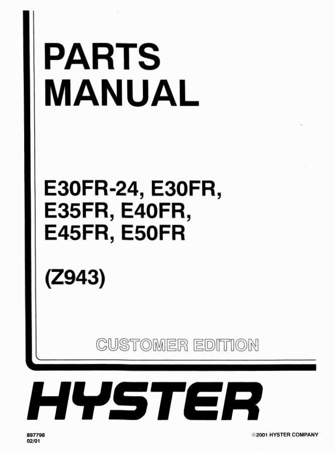 Hyster E30FR, E30FR-24, E35FR, E40FR, E45FR, E50FR