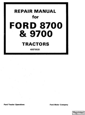 Ford 8700, 9700 Tractor Service Repair Manual (SE3700