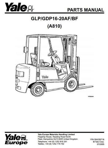 Yale GLP16AF, GLP20AF, GDP16AF, GDP20AF, GLP16BF Forklift