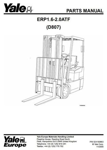 Yale ERP1.6ATF, ERP1.8ATF, ERP2.0ATF Electric Forklift