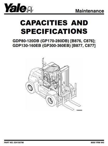 Yale GDP300EB, GDP330EB, GDP360EB Diesel ForkLift Truck