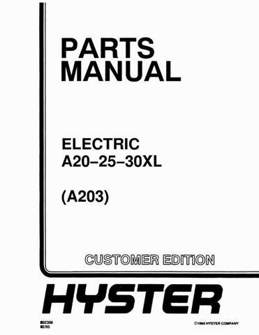 Hyster A20XL, A25XL, A30XL Electric Forklift Truck A203