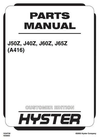 Hyster J2.00XM, J2.50XM, J3.00XM, J3.20XM, J40Z, J50Z