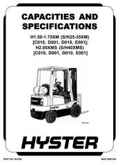 Hyster S30E, S40E, S50E, S60ES Diesel/LPG Forklift Truck