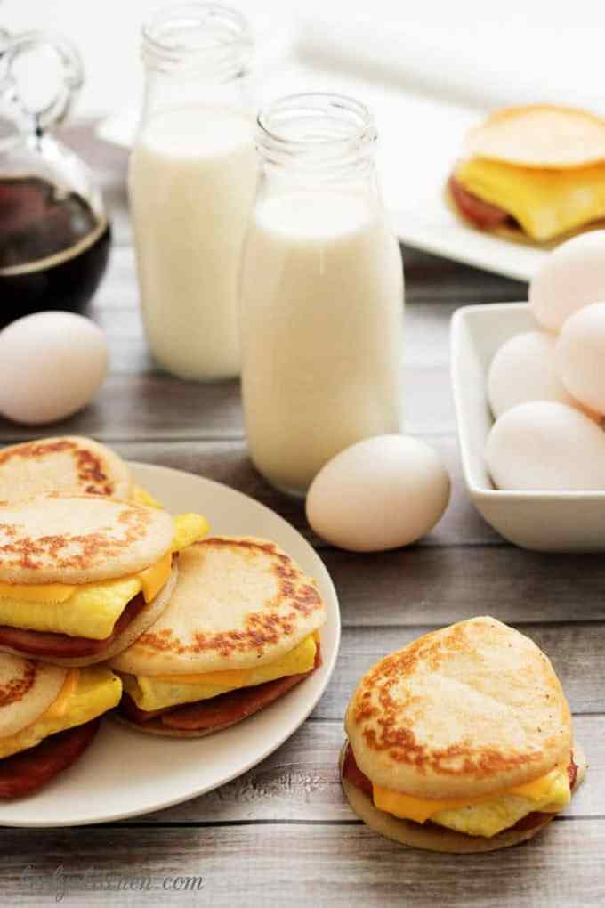 Ham egg, & cheese pancake sliders combine your favorite breakfast fares including savory ham, fluffy eggs, melted cheese and sweet pancakes.