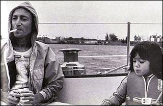 John and Sean Lennon aboard the Megan Jaye