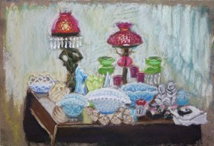 pastel painting of a table of vintage glassware