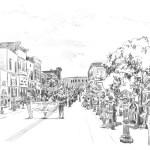 pencil sketch of parade