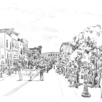 Memorial Day Parade, a pencil sketch