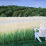 pastel painting of a meadow with adirondack chair